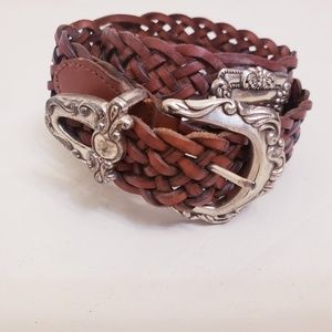 Fossil Brown & Silver Leather Braided Belt, Sz L